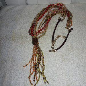Chico's Mult~Strand Beaded Tassel Necklace